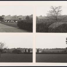 Vier aanzichten van voorgevel fabriek van Weverij De Ploeg - onbekend, Pictura (fotografie)