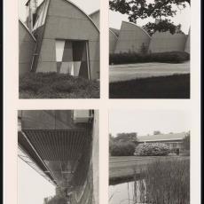 Vier foto's van gevels Weverij De Ploeg en het Ploegpark - Pictura (fotografie), onbekend