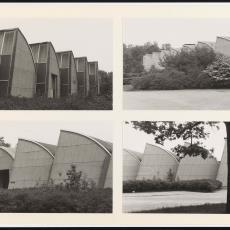 Vier foto's van de westgevel van Weverij De Ploeg - onbekend, Pictura (fotografie)