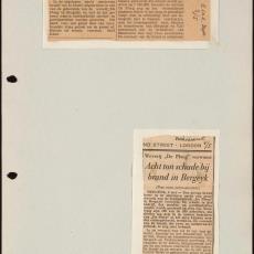Twee krantenartikels over de brand in Weverij De Ploeg - Pictura (fotografie)