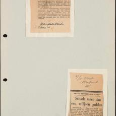 Twee krantenartikelen: 'Weverij afgebrand' en 'Schade meer dan een miljoen gulden' - Pictura (fotografie)