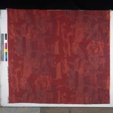 Rode bedrukte gordijnstof ontworpen door Klaus Dombrowski. - onbekend, Pictura (fotografie)