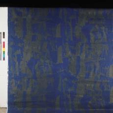 Blauwe gordijnstof ontworpen door Klaus Dombrowski - onbekend, Pictura (fotografie)