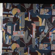 Gordijnstof ontworpen door Els Schobre - onbekend, Pictura (fotografie)