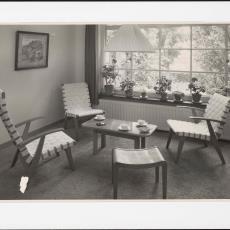 Jaren '50 woonkamer ingericht met Spectrum meubilair - Pictura (fotografie), Jaap d' Oliveira (Amsterdam)