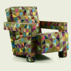 De 'Utrecht' stoel van Rietveld met bekledingstof Boxblocks - Bertjan Pot, Gerrit Rietveld, Pot, Bertjan, Cassina, onbekend