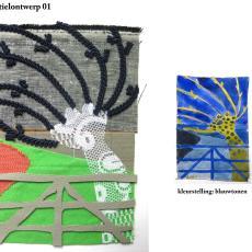 Ontwerp voor wandkleed 'Herinneringen aan vergezichten' (01) - kunstenaar, Kiki van Eijk