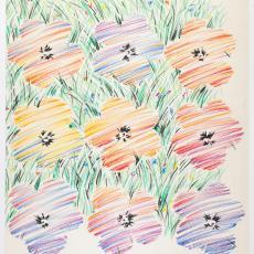 Ontwerptekening met getekende bloemen tegen bloemenweide - Weverij De Ploeg (Bergeijk), Donders, Camiel