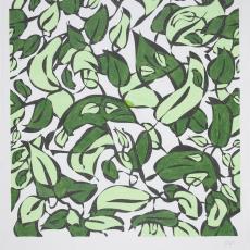 Ontwerptekening met groene bladeren in twee tinten - Maarten Vrolijk, Donders, Camiel, Donders, Camiel, Weverij De Ploeg (Bergeijk)