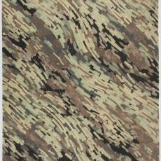 Ontwerptekening met golvend streeppatroon in camouflagekleuren - Weverij De Ploeg (Bergeijk), Donders, Camiel, Daniel & Dagmar Duquesne (toegeschreven)