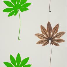 Ontwerptekening met groene en bruine bladvormen met stelen - Donders, Camiel, Anja Uhl, Weverij De Ploeg (Bergeijk)