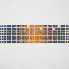 Ontwerptekening met blauwe en oranje blokjes 'Keos' - Paul Squires, Weverij De Ploeg (Bergeijk)