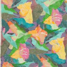 Ontwerptekening met geabstraheerde bloemen tegen een gekleurde achtergrond - Weverij De Ploeg (Bergeijk), Donders, Camiel, Donders, Camiel