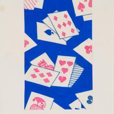Ontwerptekening reeks 'Multifesta' met dessin van speelkaarten - Weverij De Ploeg (Bergeijk), Donders, Camiel, Frans Dijkmeijer, Donders, Camiel