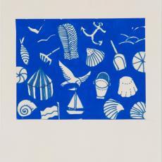 Ontwerptekening reeks 'Multifesta' met dessin van strandattributen - Donders, Camiel, Frans Dijkmeijer, Donders, Camiel, Weverij De Ploeg (Bergeijk)