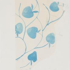 Ontwerptekening reeks 'Multifesta' met dessin van hartvormige vruchten aan takken in blauw - Frans Dijkmeijer, Donders, Camiel, Weverij De Ploeg (Bergeijk), Donders, Camiel