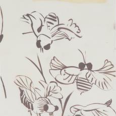 Ontwerptekening reeks 'Multifesta' met vliegende insecten - Donders, Camiel, Weverij De Ploeg (Bergeijk), Frans Dijkmeijer