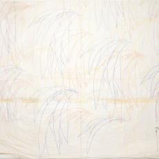 Ontwerptekening met dessin van planten in rode, blauwe en gele gebogen lijnen op transparante ondergrond - Donders, Camiel, Weverij De Ploeg (Bergeijk)