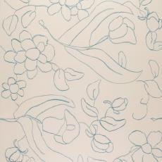 Ontwerptekening met gestileerde bloemen in blauwe lijnen op crèmekleurig fond - Weverij De Ploeg (Bergeijk), Donders, Camiel, Maarten Vrolijk, Donders, Camiel
