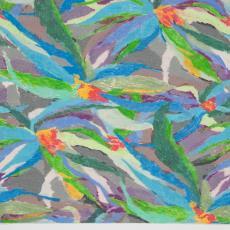 Ontwerptekening met geabstraheerde bloemen tegen een gekleurde achtergrond - Donders, Camiel, Donders, Camiel, Weverij De Ploeg (Bergeijk)