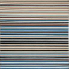 Ontwerptekening met streepdessin in drie tinten bruin, drie tinten blauw, zwart, wit en grijs - Stads, Jan, Reimer Hennings, Weverij De Ploeg (Bergeijk), Stads, Jan
