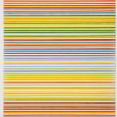 Ontwerptekening met streepdessin in negen kleuren: twee tinten groen, twee tinten blauw, rood, oranje, geel, roze en wit - Weverij De Ploeg (Bergeijk), Donders, Camiel, Reimer Hennings, Donders, Camiel