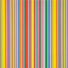 Ontwerptekening met streepdessin in negen kleuren: twee tinten paars, twee tinten groen, rood, geel, oranje, blauw en wit - Weverij De Ploeg (Bergeijk), Donders, Camiel, Donders, Camiel, Reimer Hennings