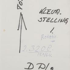 Bijvoegsel bij ontwerptekening met ruitdessin in bruintinten en wit - Reimer Hennings, Weverij De Ploeg (Bergeijk), Donders, Camiel