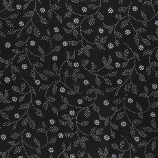 Stofstaal katoenen stof uit 'Multifesta-reeks' met dessin van blaadjes aan takken, geheel bestaand uit stippen tussen de takken hier en daar een bloem - Weverij De Ploeg (Bergeijk), Vlisco (Helmond), Frans Dijkmeijer