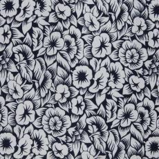 Stofstaal katoenen stof uit 'Multifesta-reeks' met dessin van bloemen met bladen, met schaduwwerking - Frans Dijkmeijer, Vlisco (Helmond), Weverij De Ploeg (Bergeijk)