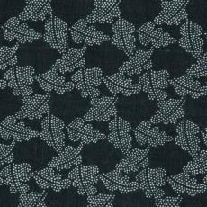 Stofstaal katoenen stof uit 'Multifesta-reeks' met dessin van plantenblaadjes die bestaan uit stipjes - Weverij De Ploeg (Bergeijk), Frans Dijkmeijer, Donders, Camiel, Vlisco (Helmond)