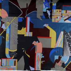 Gordijn van bedrukte, glanzende stof met druk dessin - Els Schobre, Taunus Textildruck (Oberursel), Weverij De Ploeg (Bergeijk)