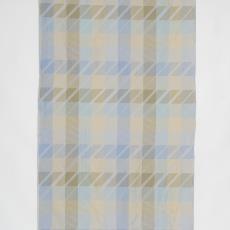 Staal gordijnstof met ingeweven dessin van diagonale strepen en blokken - Diek Zweegman, Donders, Camiel, Weverij De Ploeg (Bergeijk), De Witte Lietaer (België)