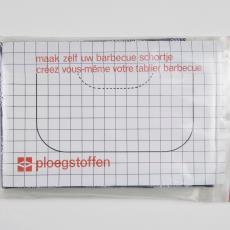 Verpakking met stof uit 'Multifesta' reeks en werkbeschrijving voor barbecueschort - Donders, Camiel, Weverij De Ploeg (Bergeijk), Frans Dijkmeijer, Donders, Camiel