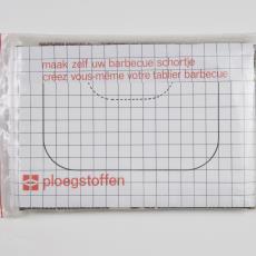 Verpakking met stof uit 'Multifesta' reeks en werkbeschrijving voor barbecueschort - Frans Dijkmeijer, Weverij De Ploeg (Bergeijk), Donders, Camiel, Donders, Camiel