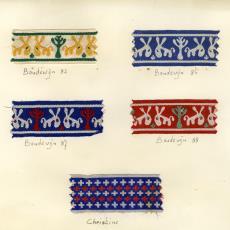 Stalenkaart met sierband 'Boudewijn'en 'Christine' - Stads, Jan, Weverij De Ploeg (Bergeijk)