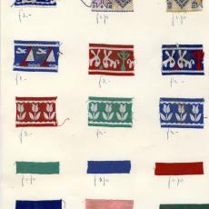 Stalenkaart met 16 stalen sierband - Weverij De Ploeg (Bergeijk), Stads, Jan
