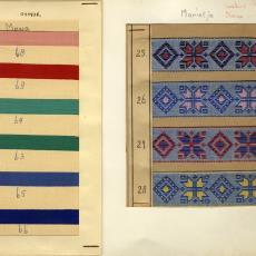 Stalenkaart met stalen sierband 'Marietje' en 'Mono' - Stads, Jan, Weverij De Ploeg (Bergeijk)