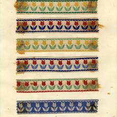 Stalenkaart met acht stalen sierband 'Tulipa' - Weverij De Ploeg (Bergeijk), Stads, Jan