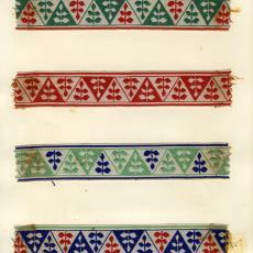 Stalenkaart met vier stalen sierband - Stads, Jan, Weverij De Ploeg (Bergeijk)