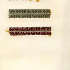 Stalenkaart met drie stalen sierband - Stads, Jan, Weverij De Ploeg (Bergeijk)