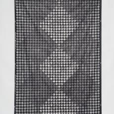 Staal gordijnstof met dessin van schaakbord in verschillende blokpatronen - Taunus Textildruck (Oberursel), Weverij De Ploeg (Bergeijk), Inez Züst