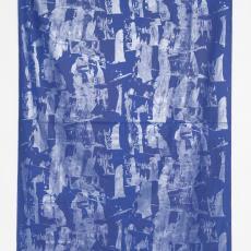 Stofstaal gordijnstof kobaltblauw met zilver - Taunus Textildruck (Oberursel), Klaus Dombrowski, Weverij De Ploeg (Bergeijk)