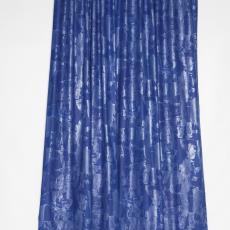 Gordijn kobaltblauw met zilver - Weverij De Ploeg (Bergeijk), Klaus Dombrowski, Taunus Textildruck (Oberursel)