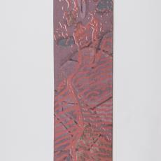Stalenkaart met bedrukte stof in verschillende tinten paars, roze en bruin - Weverij De Ploeg (Bergeijk), Donders, Camiel