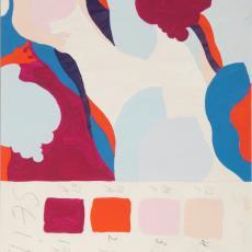 Ontwerptekening met dessin van abstracte, grillige vormen, lijkend op slakken met slakkenhuizen in roze, rood en blauw - Donders, Camiel, Inez Züst, Weverij De Ploeg (Bergeijk), Donders, Camiel