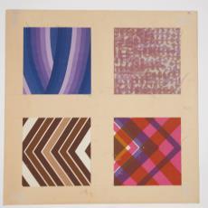 Stalenkaart met vier stalen - Weverij De Ploeg (Bergeijk), Donders, Camiel