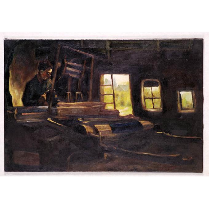 Schilderij met voorstelling van weversinterieur - Montee schilderij trap ...