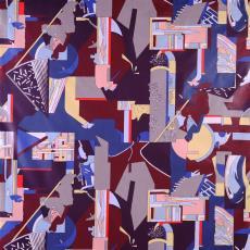 Gordijnstof, veelkleurig - Taunus Textildruck (Oberursel), Els Schobre, Textielmuseum (Frans van Ameijde / Joep Vogels), Weverij De Ploeg (Bergeijk)