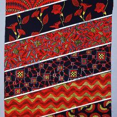 Staal-yard in patchworkdessin (dessin 4298) - Vlisco (Helmond), Textielmuseum (Frans van Ameijde / Joep Vogels), Mari Althuizen